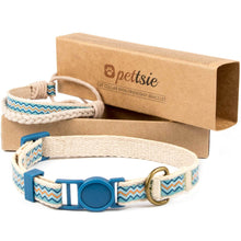 Blue kitten collar with safety breakaway buckle and friendship bracelet for you