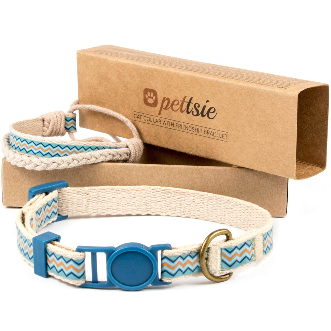 pettsie-blue-cat-collar-breakaway-safety-matching-friendship-bracelet-easy-adjustable-cotton