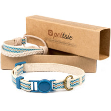 Blue cat collar with breakaway safety and friendship bracelet for you