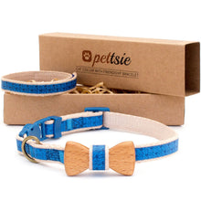 Orange cat collar with wood bow tie and friendship bracelet