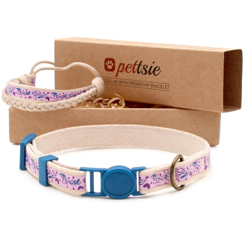 pettsie-purple-cat-collar-breakaway-buckle-matching-friendship-bracelet-calming-cotton-fancy-chic