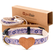 Purple dog collar with wood heart and friendship bracelet - 2 adjustable sizes