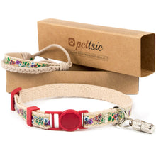 Red kitten collar with safety breakaway buckle and friendship bracelet for you, ID tag tube included