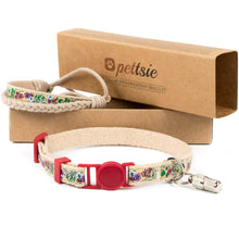 Cat collar with breakaway buckle, friendship bracelet and ID tube for safety