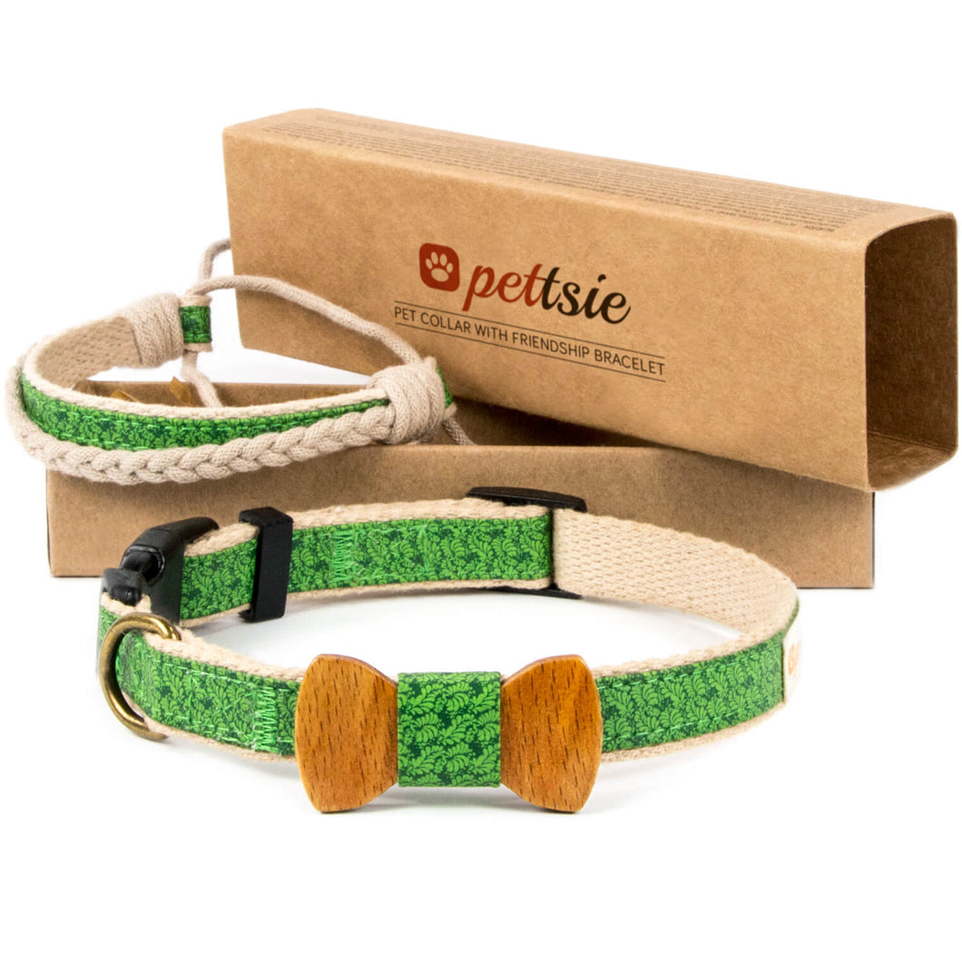 pettsie-green-dog-collar-hemp-bow-tie-matching-friendship-bracelet-dapper-chic
