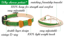 pettsie-green-dog-collar-hemp-bow-tie-friendship-bracelet-features