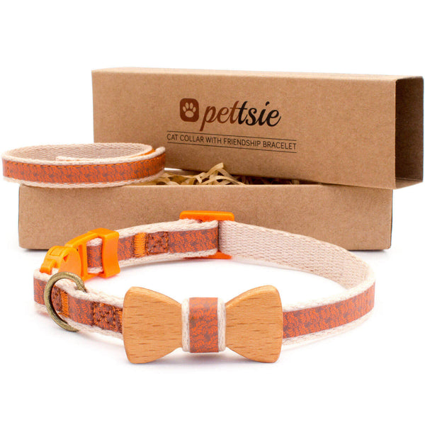 pettsie-orange-cat-collar-set-wood-bow-tie