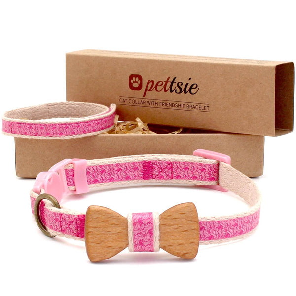 pettsie-pink-cat-collar-wood-bow-tie-friendship-bracelet-set