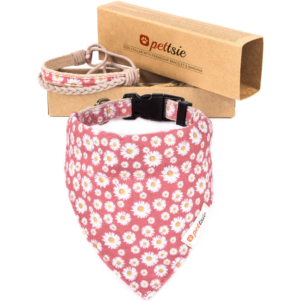 Pettsie Dog Collar & Bandana & Matching Friendship Bracelet, 2 adjustable sizes