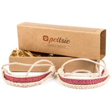 Pettsie Matching Friendship Bracelets, 2 Pack Set, Easy Adjustable, 100% Cotton and Hemp (Blue)
