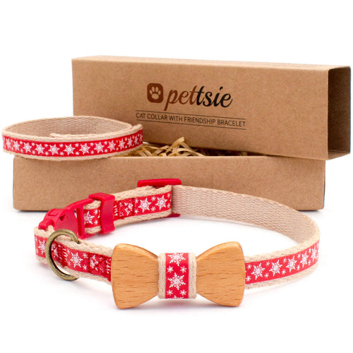pettsie-red-christmas-cat-collar-set-wood-bow-tie-matching-friendship-bracelet-calming-cotton-chic-fancy