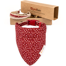 Pettsie Heart Dog Collar & Bandana & Matching Friendship Bracelet, 2 adjustable sizes