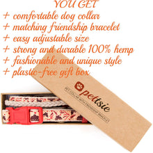 pettsie-natural-red-hemp-dog-collar-matching-friendship-bracelet-calming-gift-box