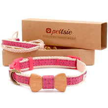 Pink dog collar with wood bow tie and friendship bracelet in 3 adjustable sizes