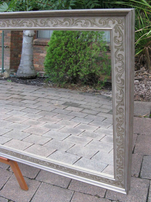 Aged Antique Look Tarnished Silver Embossed Wood Framed Wall Mirror