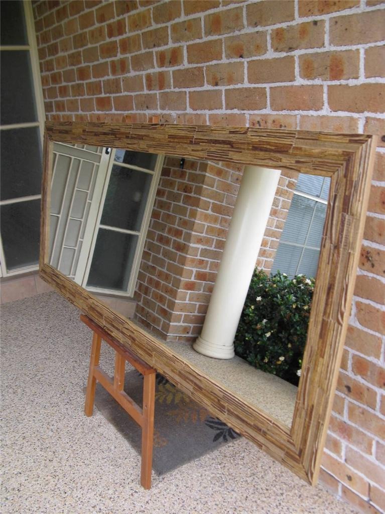 African Inspired Rustic Timber Framed Mirror