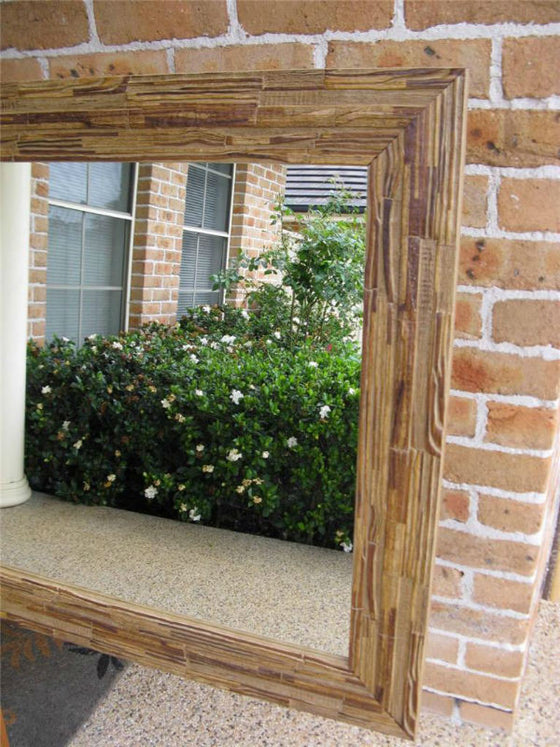 African Inspired Walnut Rustic Style Wide Timber Framed Wall Mirror