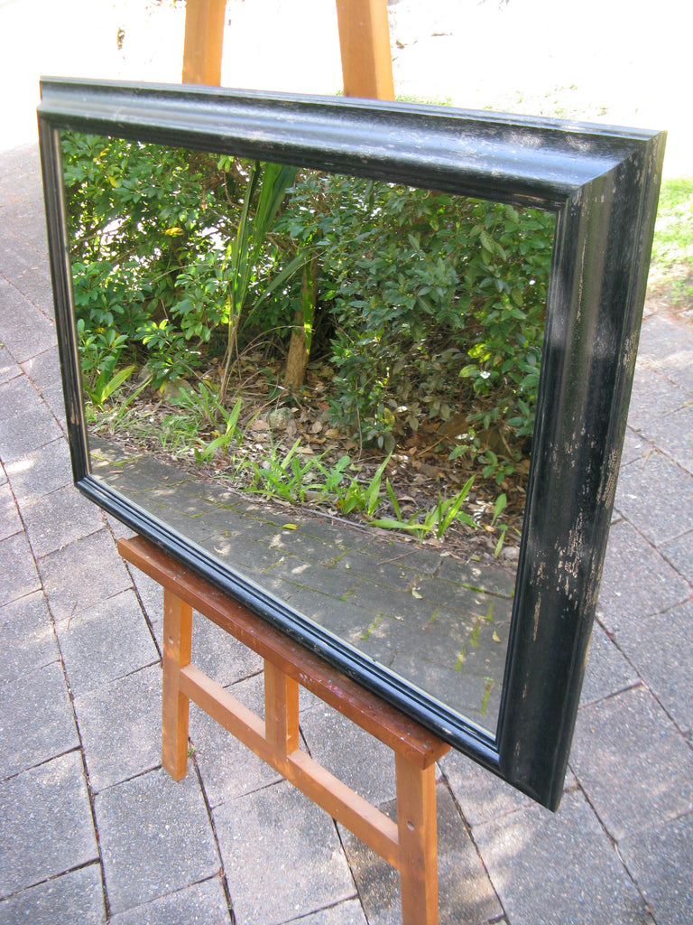 Provence Italian Made Aged Black Timber Mirror