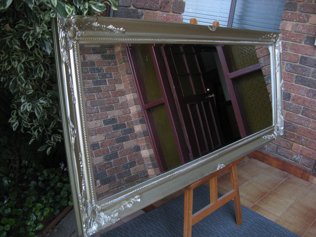French Provincial Style Antique Look Champagne Gold Wide Timber Framed Wall Mirror