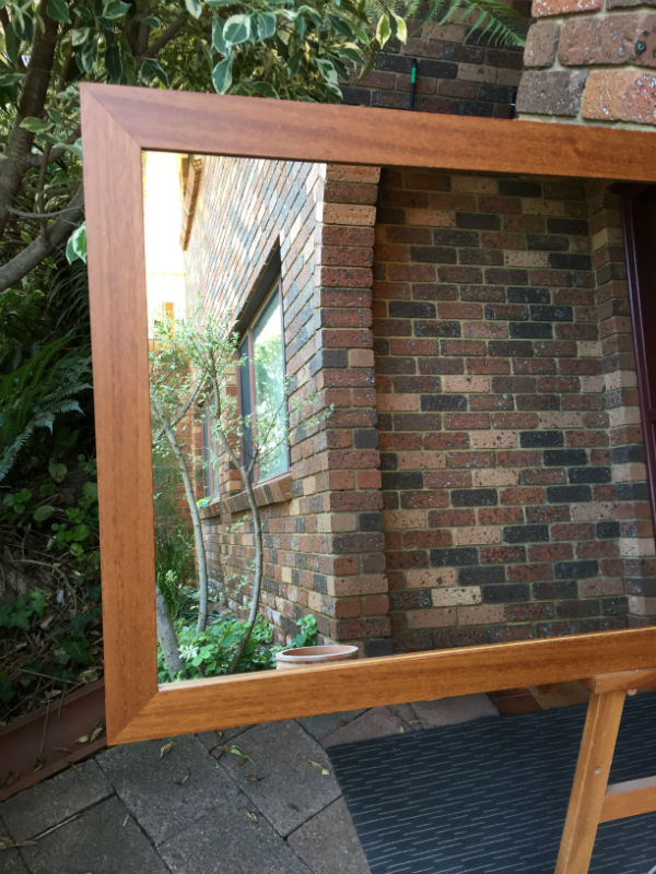 Plain Smooth Teak Stain Timber Framed Wall Mirror.
