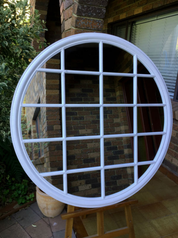 Traditional Grid Panel Aged White Wooden Framed Circular Wall Mirror