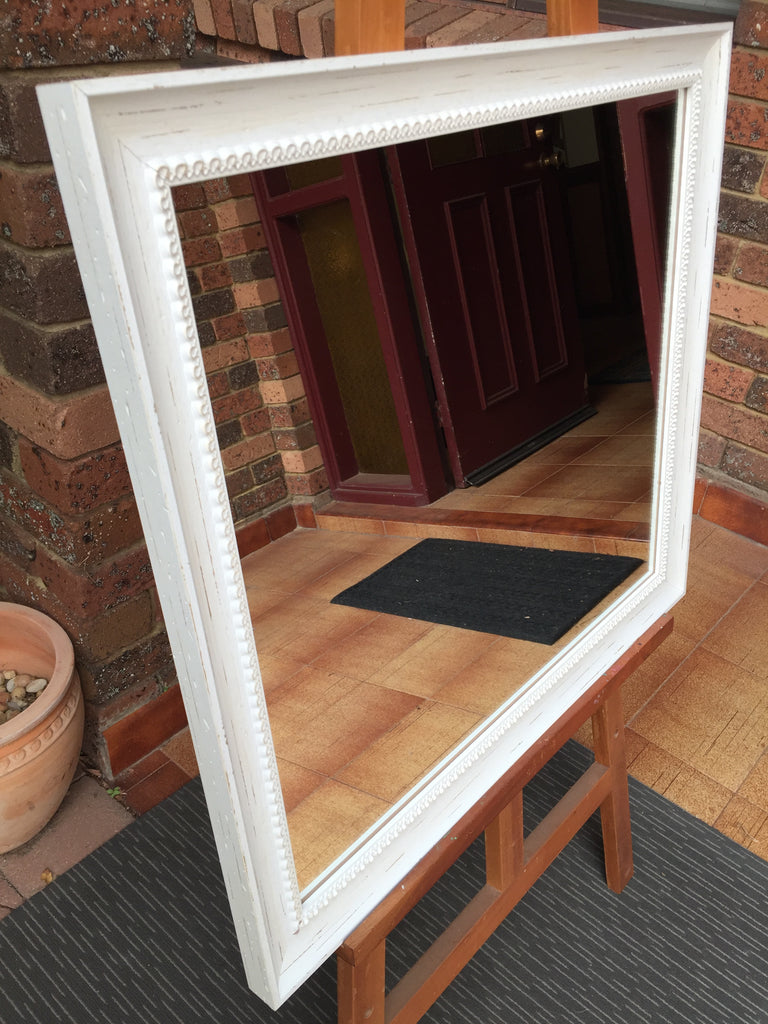 Aged Antique White Timber Framed Wall Mirror