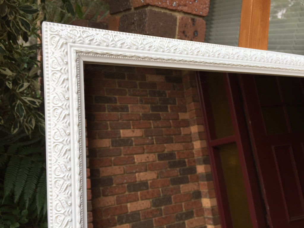 Elegant Ornate Whitewash Timber Framed Wall Mirror