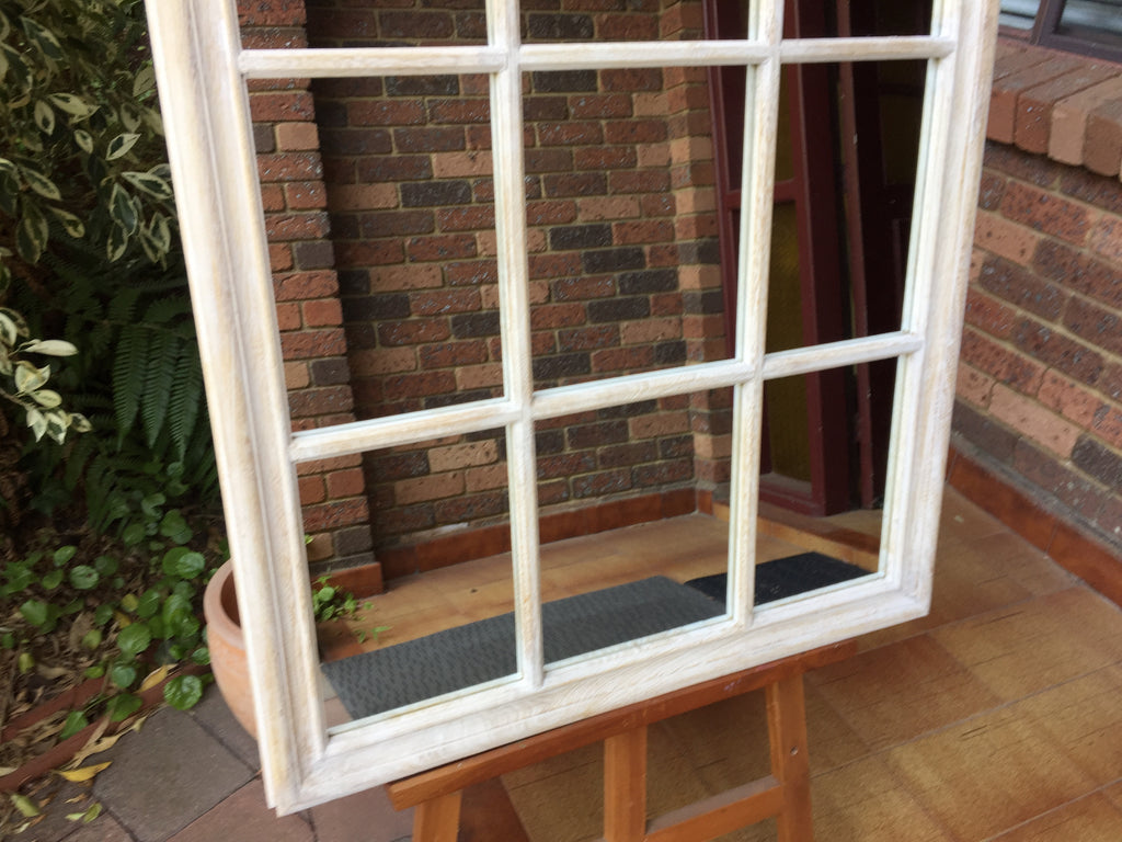 French Country Style Arched Top Window Look Whitewash Timber Framed Wall Mirror