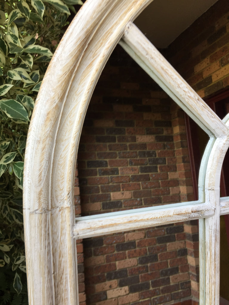 Sale Item Arched Whitewash Timber Mirror 140x80cm