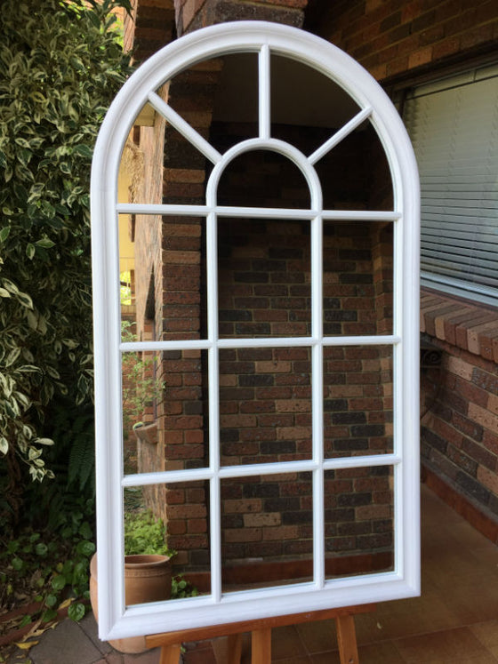 French Country Style Arched Top Window Look Matt White Timber Mirror