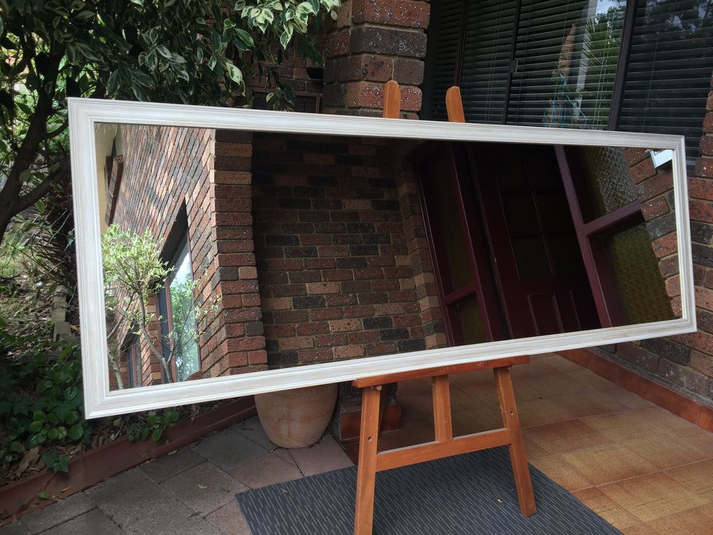 Mosman Aged White Timber Framed Mirror