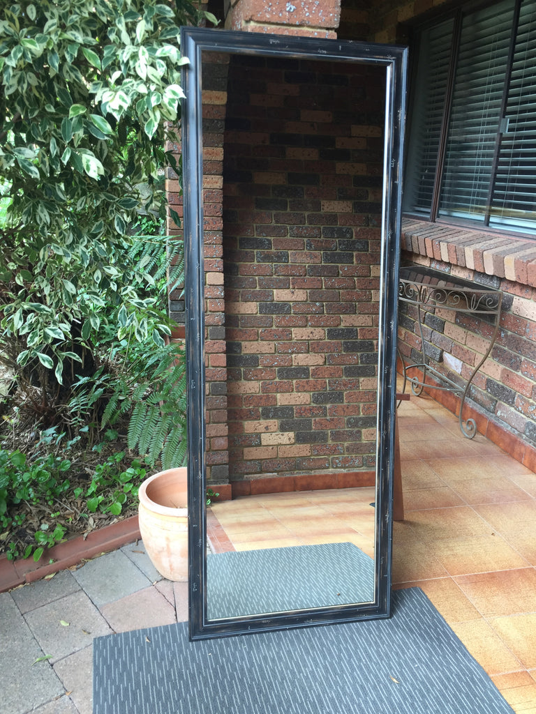 Mosman Aged Black Timber Framed Mirror
