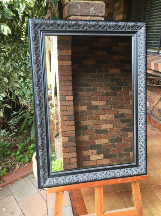 Lorient Aged Antique Look Black Timber Framed Wall Mirror