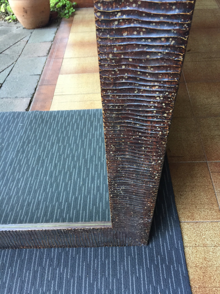 Sale Item Ribbed Aged Copper Mirror 207x78cm