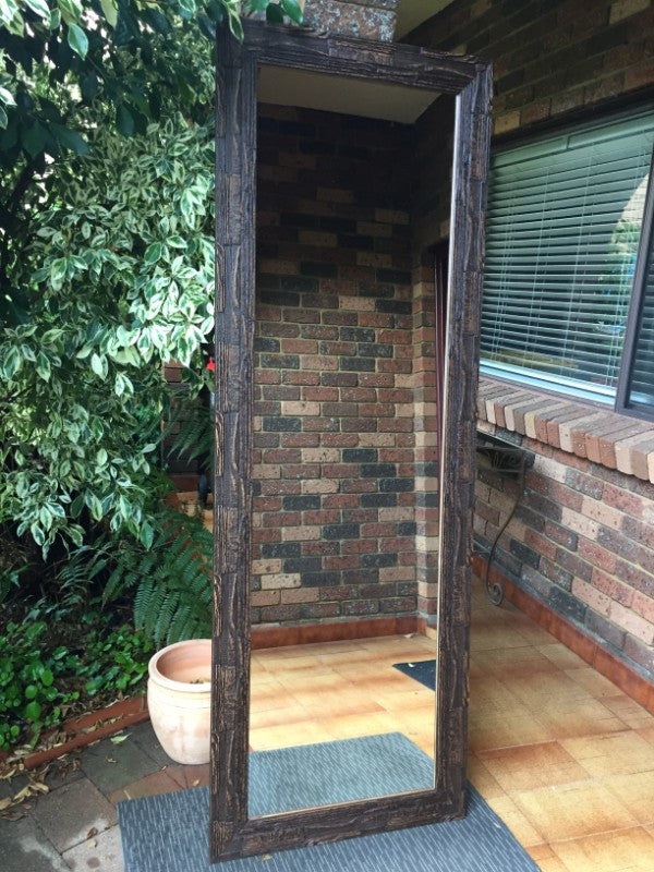 African Inspired Rustic Dark Timber Framed Mirror