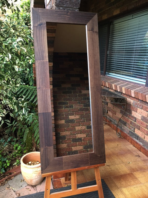 Bold Chunky Rustic Walnut Stained Timber Framed Wall Mirror