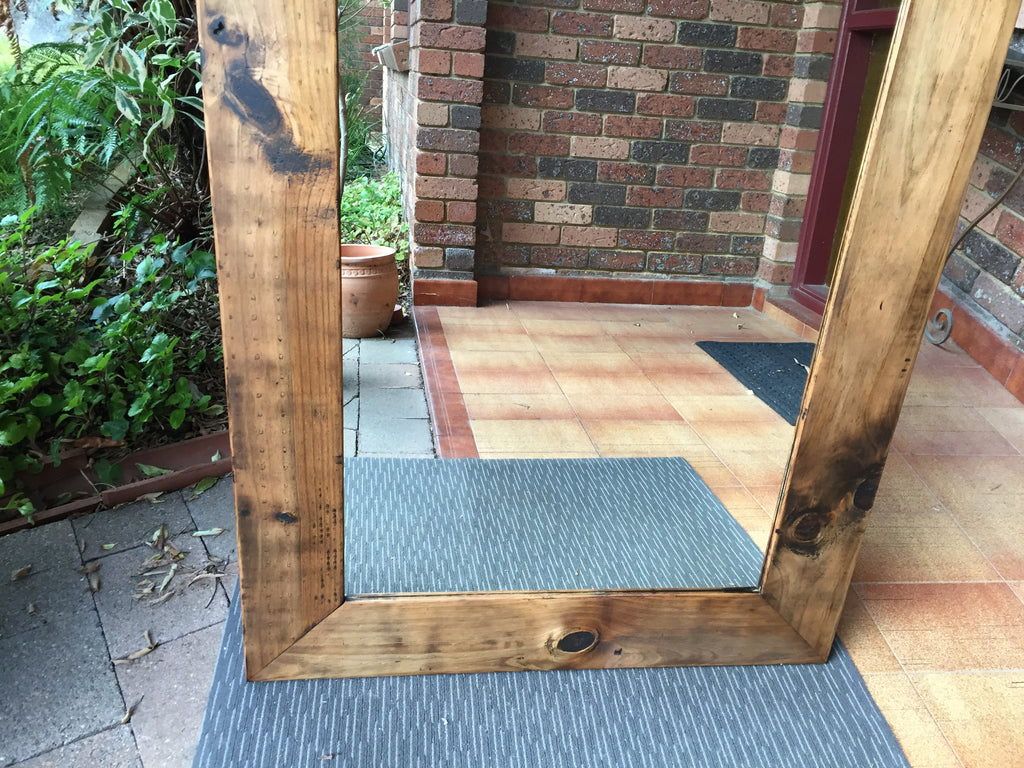 Bold Rustic Pine Wide Timber Framed Wall Mirror