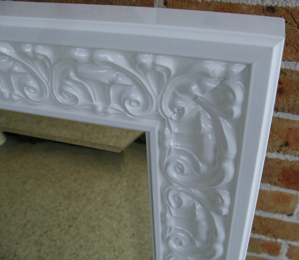Gloss White Ornate Timber Framed Wall Mirror