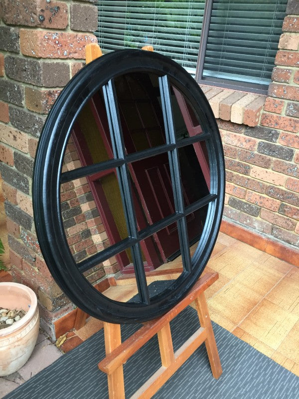 Circular Black Grid Timber Mirror
