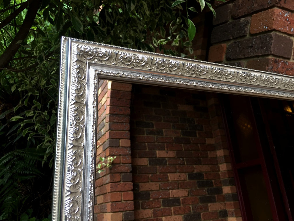 Mirror Ornate Silver Wood Frame