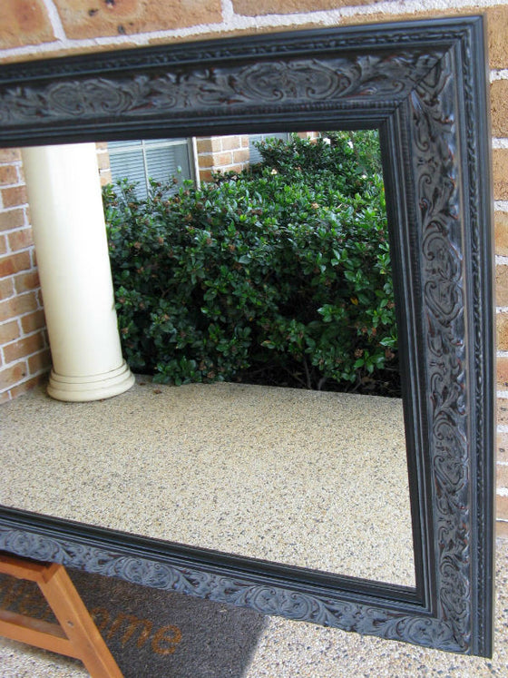 Aged Antique Look Black Wide Timber Framed Wall Mirror