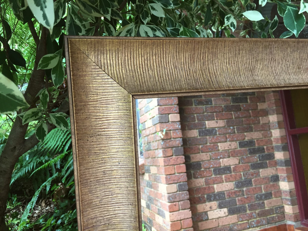 Sale Item Aged Brass Look Timber Mirror 205x76cm