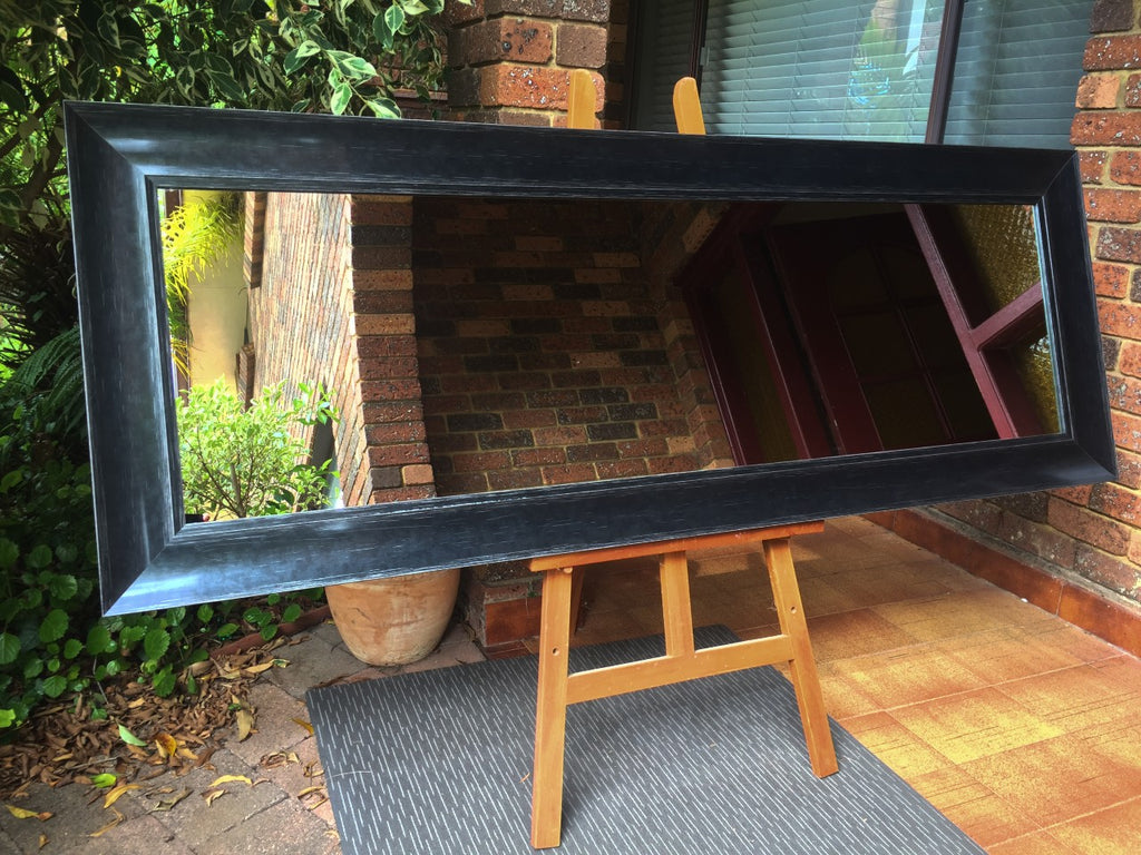 Art Deco Style Aged Black Wide Timber Framed Mirror