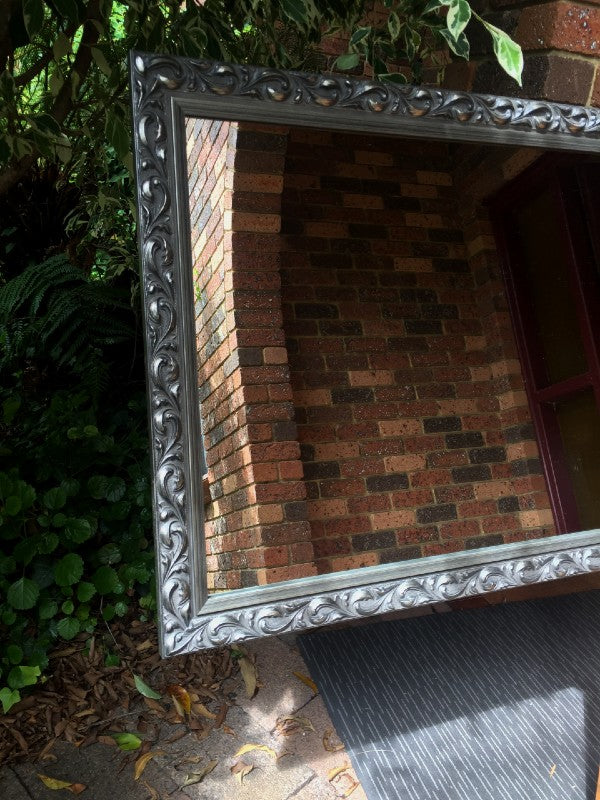Ornate Antique Style Pewter/Silver Timber Framed Wall Mirror