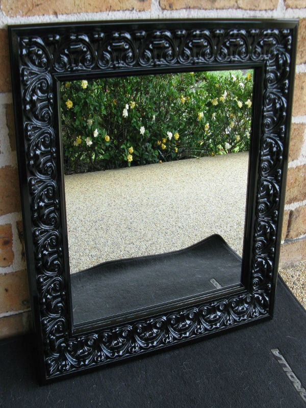 Gloss Black Ornate Timber Framed Wall Mirror