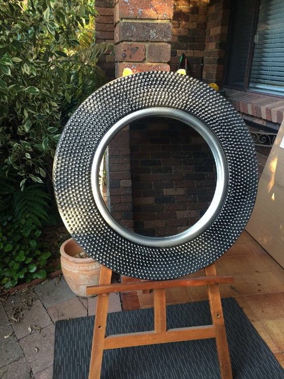 Beaded Design Silver/Black Painted Framed Circular Wall Mirror