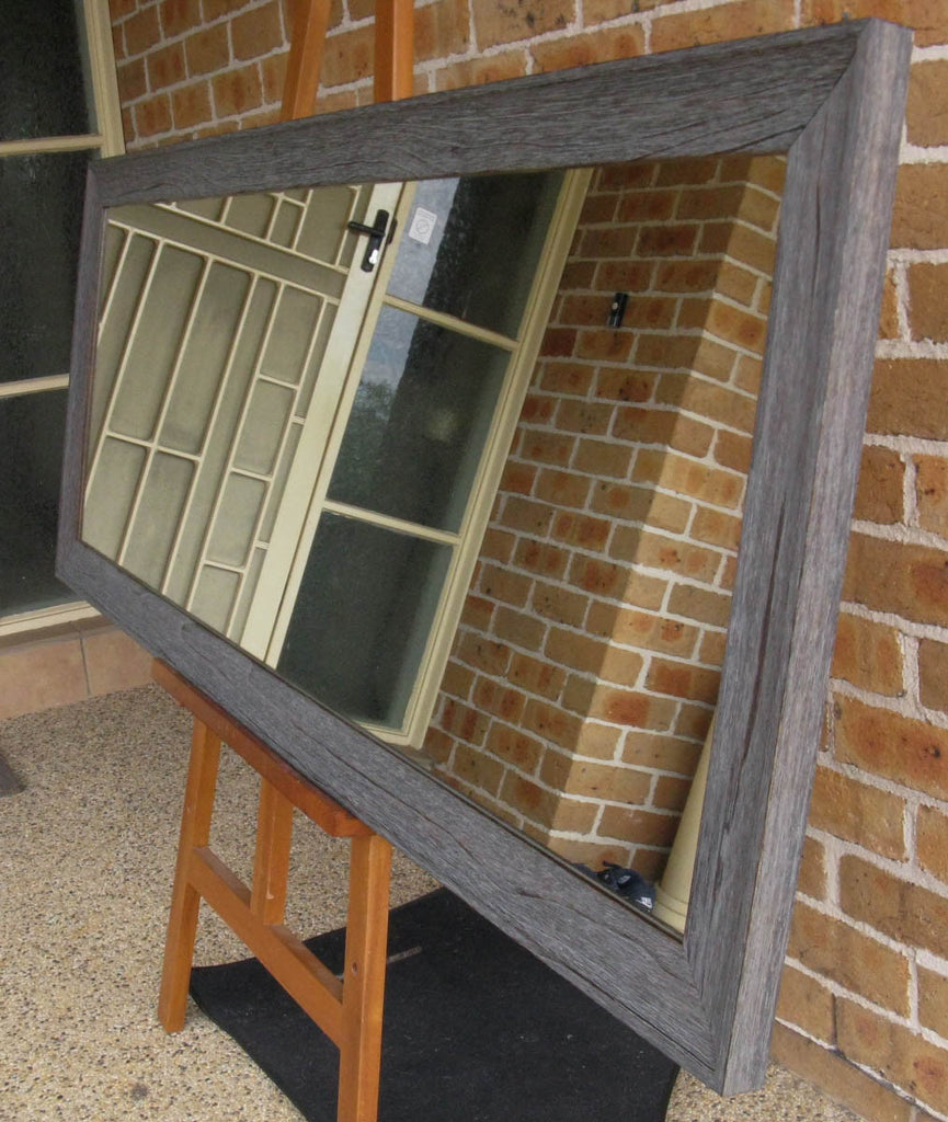 Aged Charcoal Rustic Style Timber Framed Wall Mirror