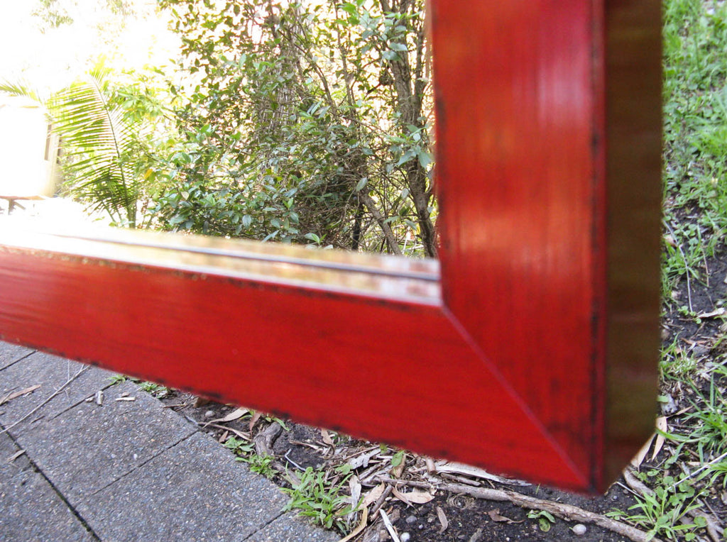 Japanese Style Dark Red Chunky Timber Framed Wall Mirror