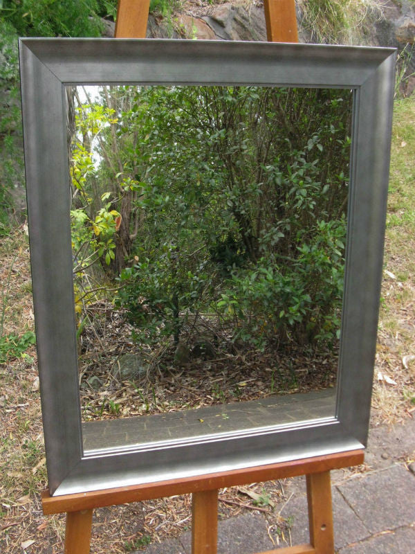 Industrial Style Silver Timber Framed Wall Mirror