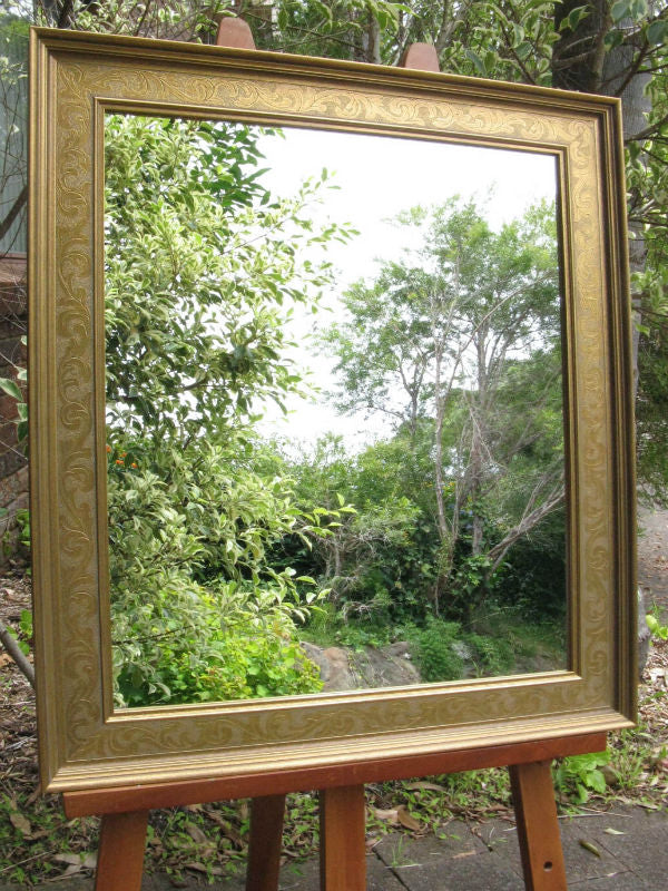 Aged Antique Look Gold Embossed Wood Framed Wall Mirror